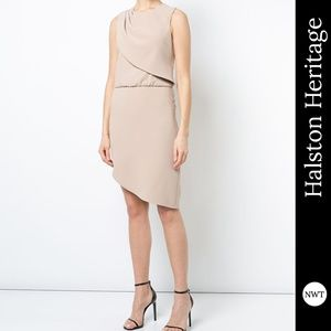 NWT Halston Heritage Draped Front Dress